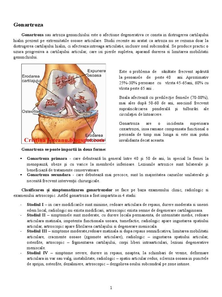 clasificarea artrozei genunchiului umflarea durerii articulare cu alergii