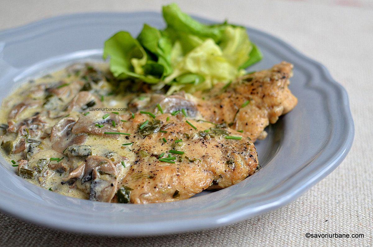 Rețeta Ciuperci cu smântână și piept de pui   Carne de pui   Rețete comentate