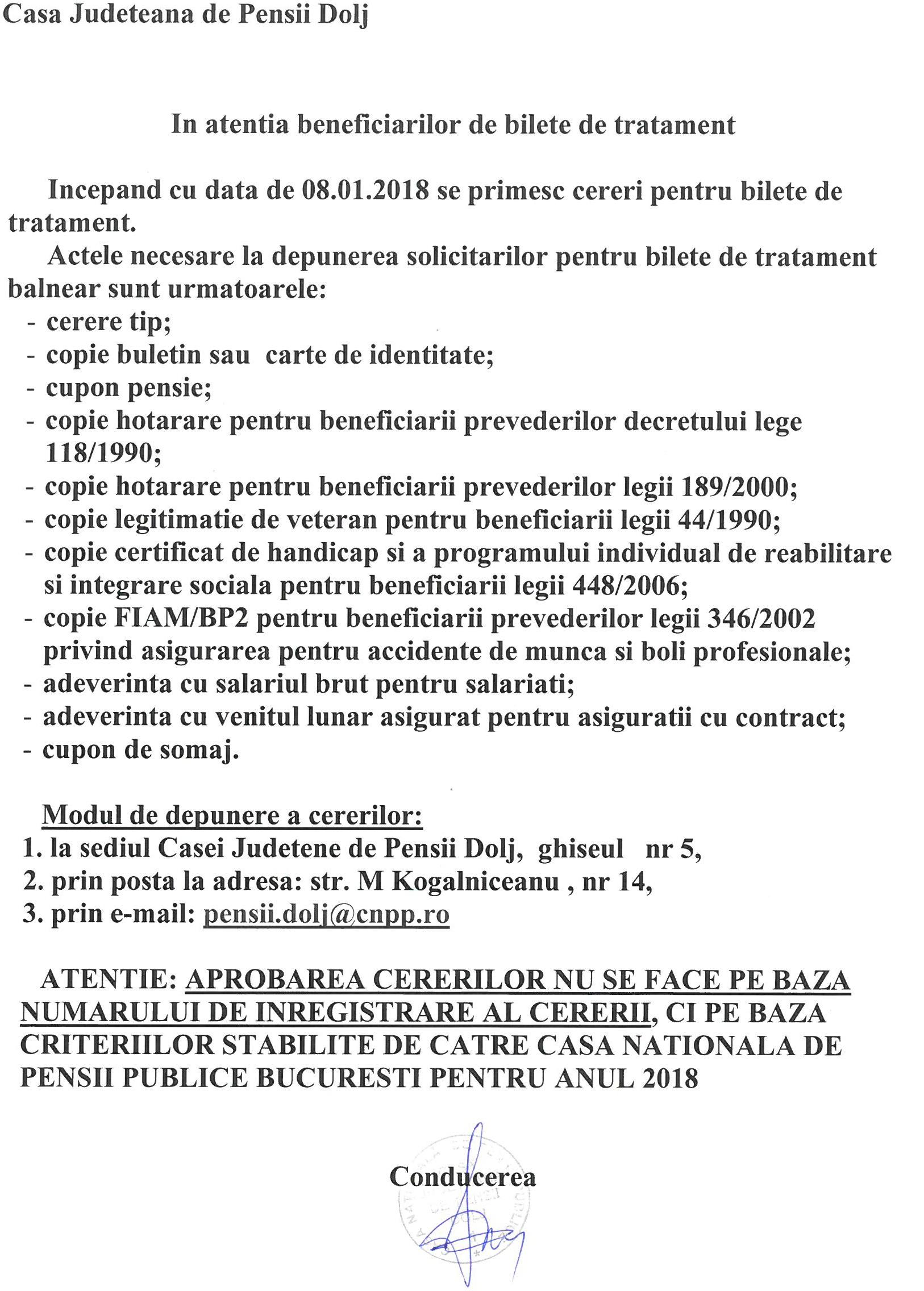 bilet de tratament comun