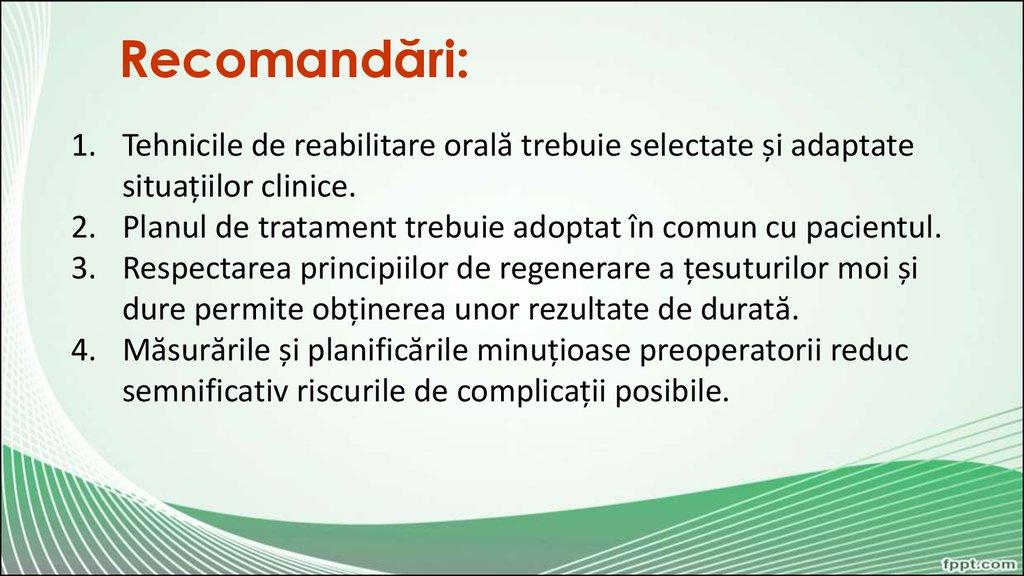 recomandări de tratament comun