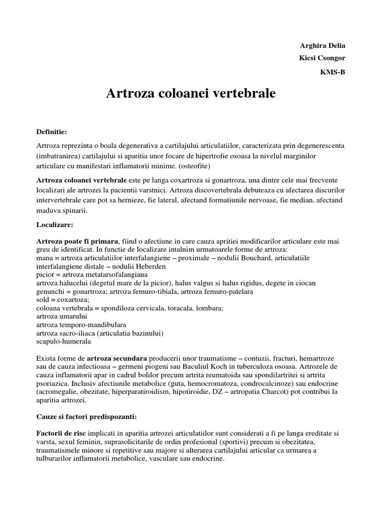 Articulații arcuite ale artrozei coloanei vertebrale